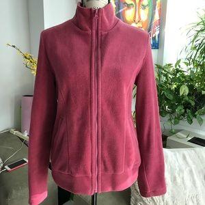 Soft pink fleece zip up sweatshirt L